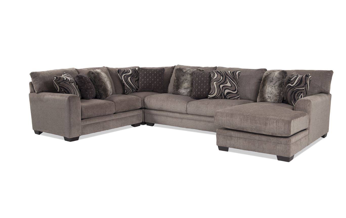 Astonishing Luxe Gray 4 Piece Left Arm Facing Sectional With Chaise Unemploymentrelief Wooden Chair Designs For Living Room Unemploymentrelieforg