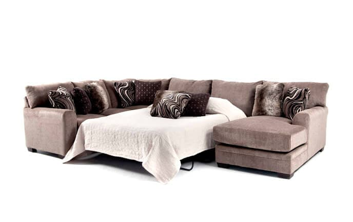 Luxe 4 Piece Left Arm Facing Bob-O-Pedic Gel Queen Sleeper Sectional With Chaise