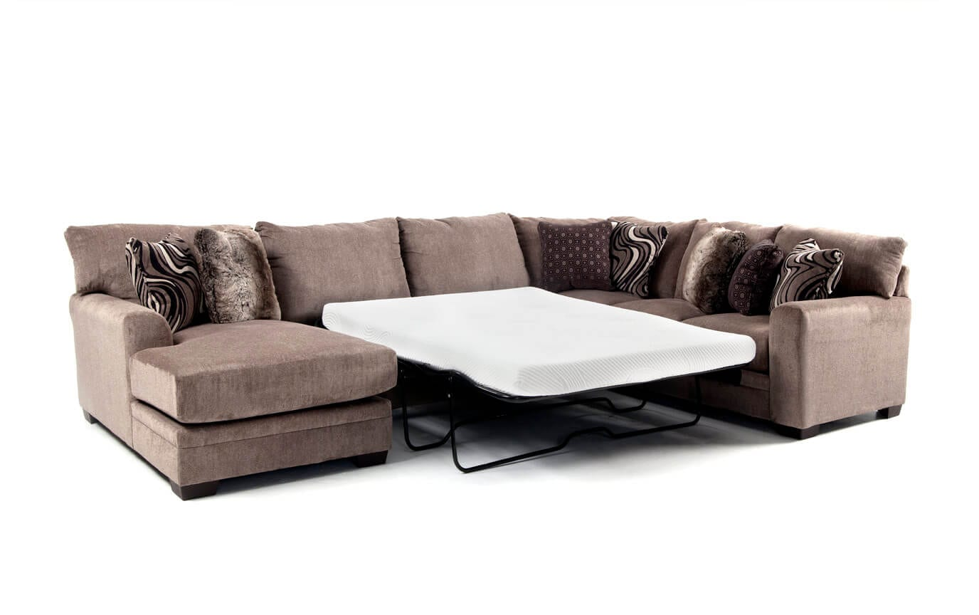Luxe 4 Piece Right Arm Facing Bob-O-Pedic Gel Queen Sleeper Sectional With Chaise