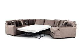 Luxe Gray 4 Piece Left Arm Facing Bob-O-Pedic Gel Queen Sleeper Sectional with Cuddler