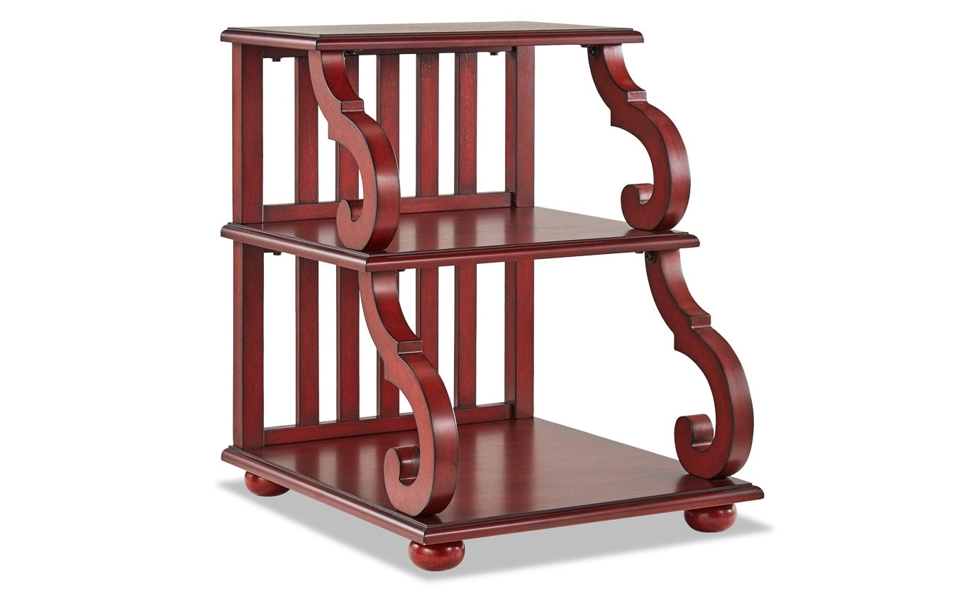 Jake Cherry Red Three Tier Accent Table