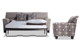 Calvin Almond Beige Bob-O-Pedic Queen Sleeper Sofa & Accent Chair