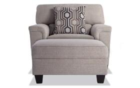 Calvin Almond Beige Chair & Storage Ottoman