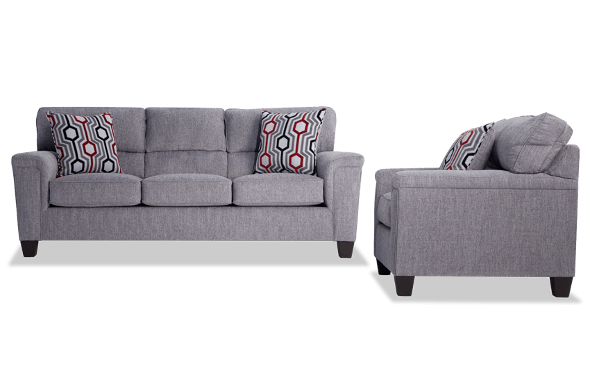 Calvin Concrete Gray Sofa & Chair