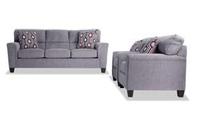 Calvin Concrete Gray Sofa & 2 Chairs