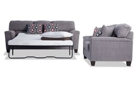 Calvin Concrete Gray Bob-O-Pedic Queen Sleeper Sofa & Loveseat