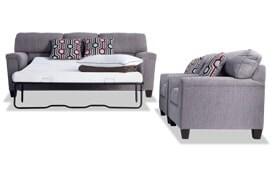 Calvin Concrete Gray Bob-O-Pedic Queen Sleeper Sofa & 2 Chairs