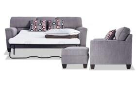 Calvin Concrete Gray Bob-O-Pedic Queen Sleeper Sofa, Chair & Storage Ottoman