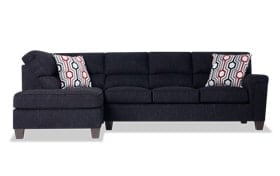 Calvin 2 Piece Onyx Black Right Arm Facing Sectional