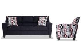 Calvin Onyx Black Sofa & Accent Chair