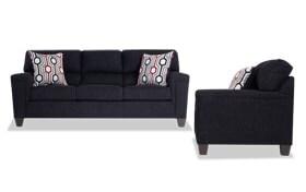 Calvin Onyx Black Sofa & Chair