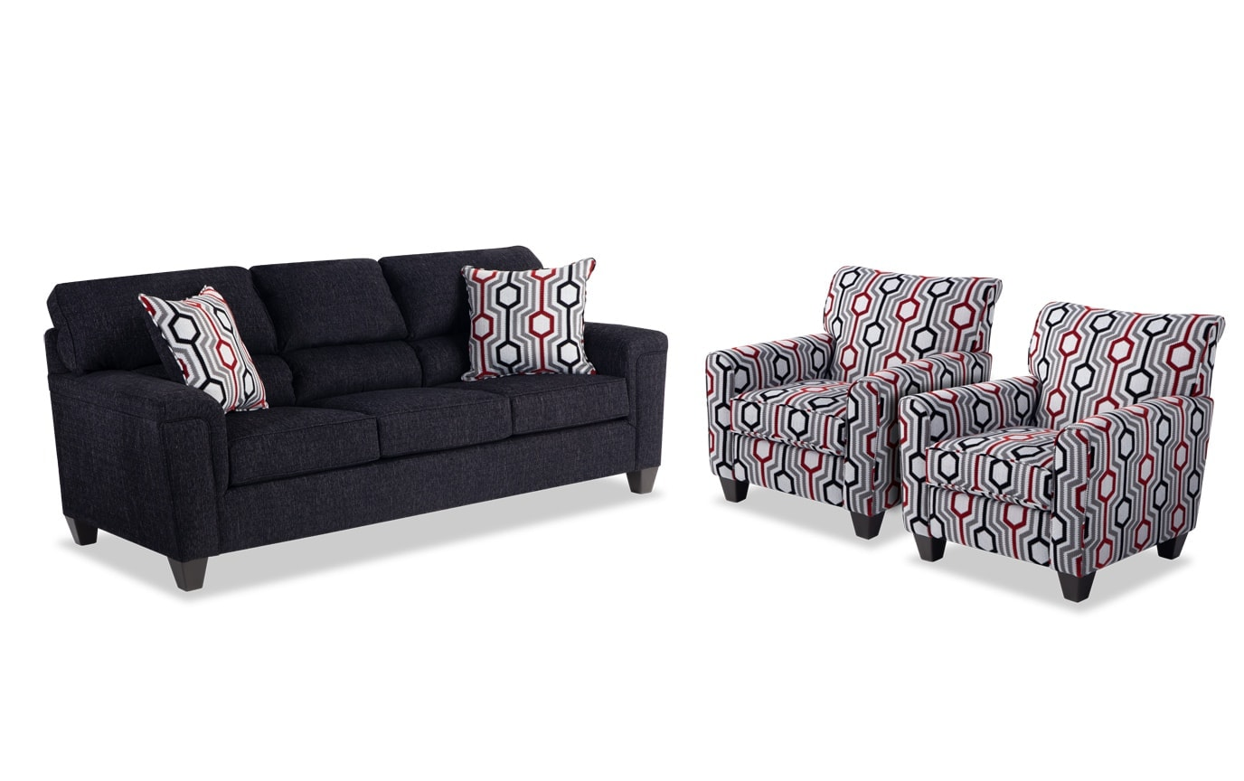 Calvin Sofa & 2 Accent Chairs