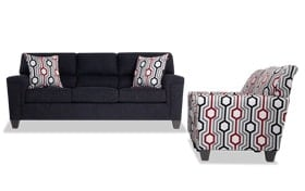 Calvin Onyx Black Sofa & 2 Accent Chairs