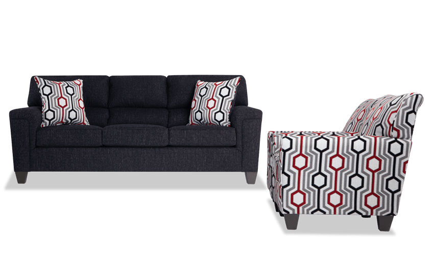 Calvin Onyx Black Sofa & 2 Accent Chairs