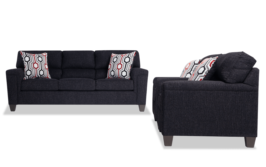 Calvin Onyx Black Sofa & 2 Chairs
