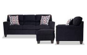 Calvin Onyx Black Sofa, Chair & Storage Ottoman