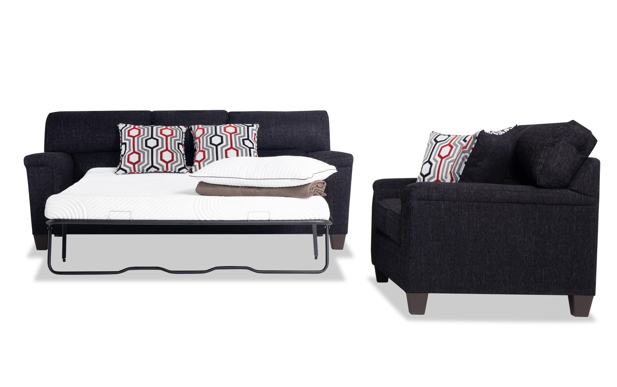 Calvin Onyx Black Bob O Pedic Queen Sleeper Sofa Loveseat Bobs Com