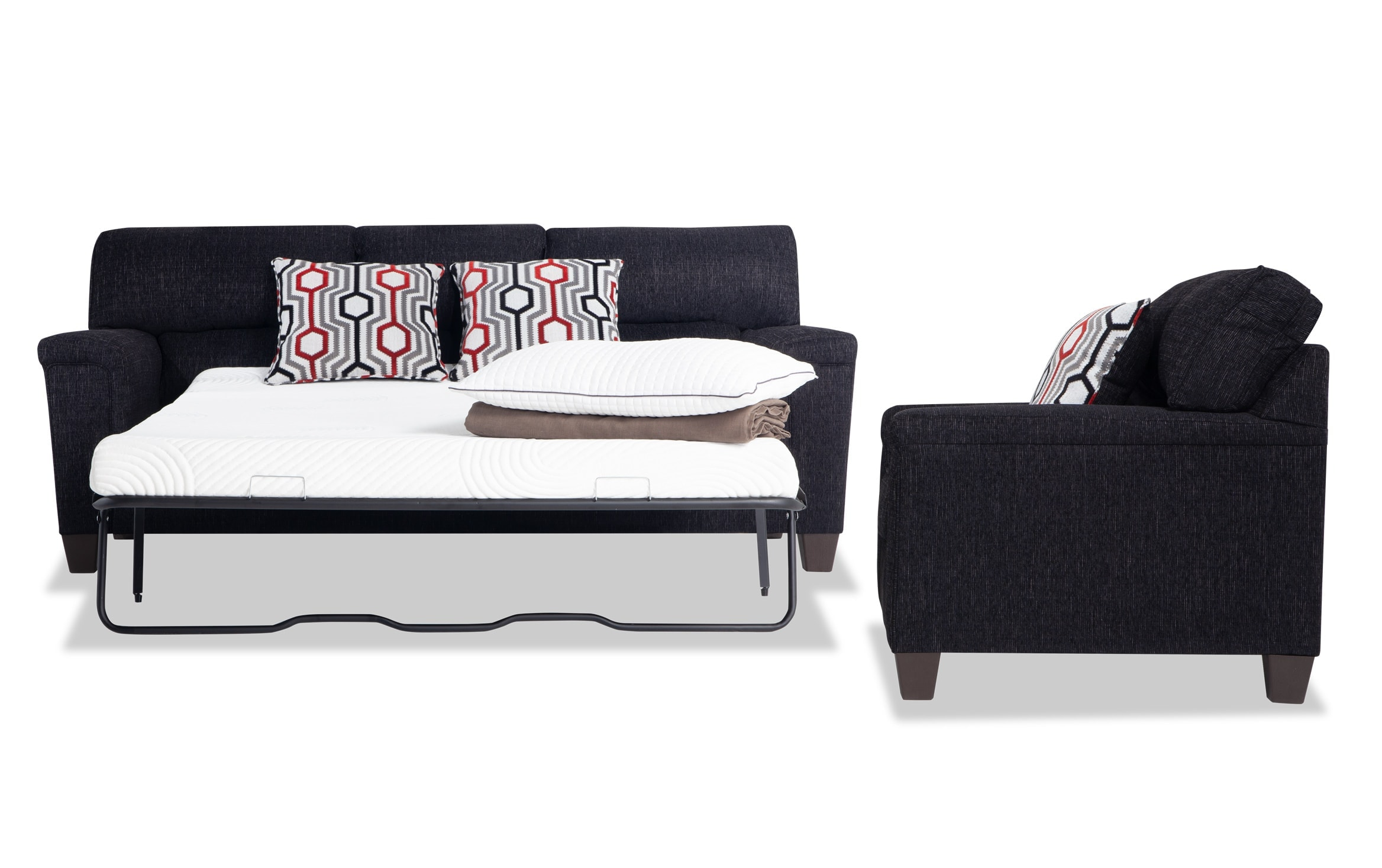 Picture of: Calvin Onyx Black Bob O Pedic Queen Sleeper Sofa Chair Bobs Com