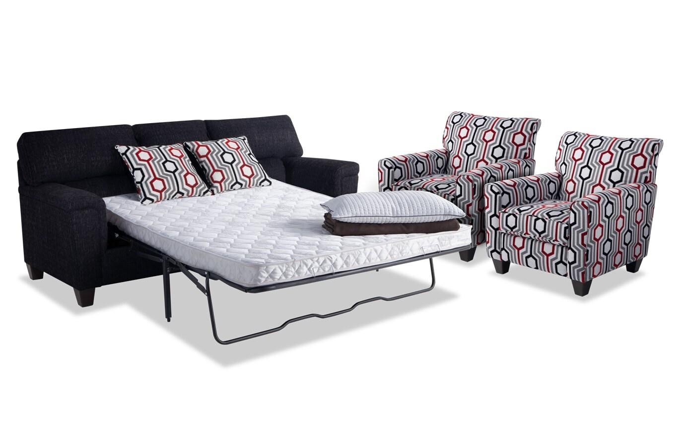 Calvin Queen Innerspring Sleeper Sofa & 2 Accent Chairs