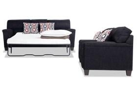 Calvin Onyx Black Bob-O-Pedic Queen Sleeper Sofa & 2 Chairs