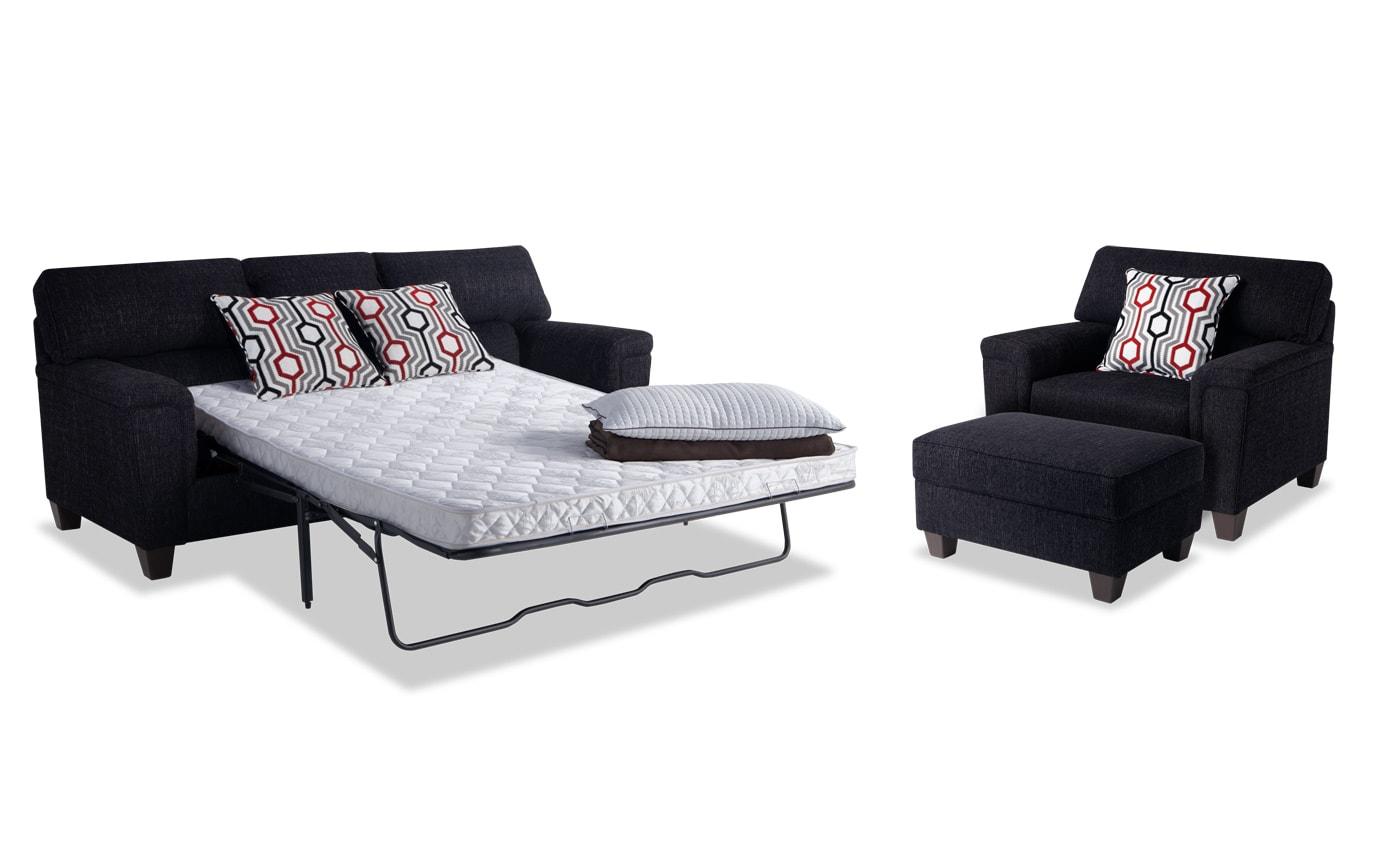 Calvin Queen Innerspring Sleeper Sofa, Chair & Storage Ottoman