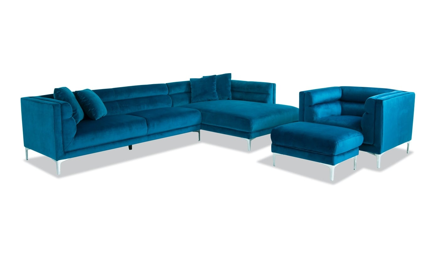 Elegance 2 Piece Left Arm Facing Sectional, Chair & Ottoman