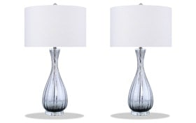 Set of 2 Smoke Swirl Glass Table Lamps