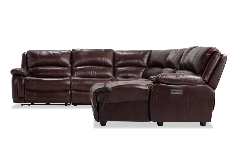 Titan Leather 6 Piece Power Reclining Left Arm Facing Sectional