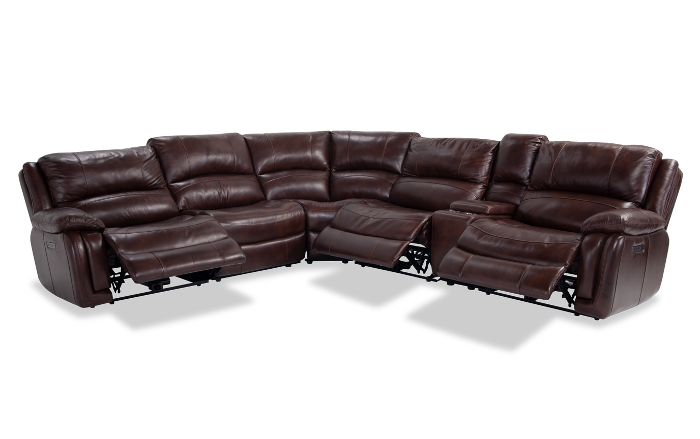 Titan Leather 6 Piece Power Reclining Sectional