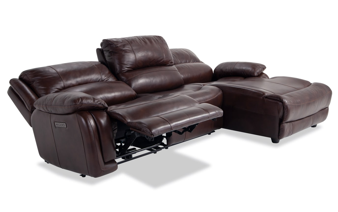 Titan Leather 3 Piece Power Reclining Left Arm Facing Sectional