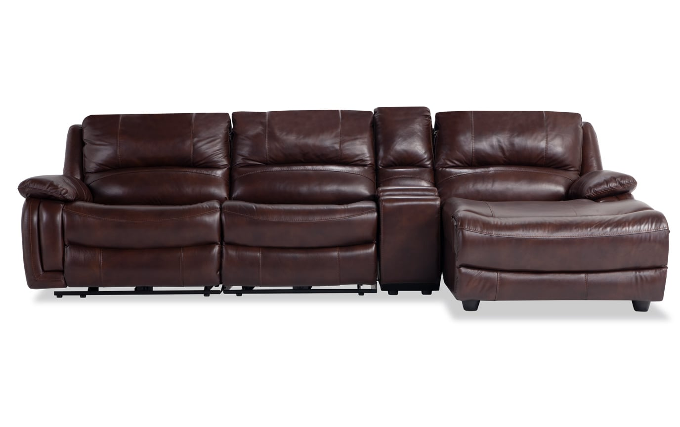 Titan Leather 4 Piece Power Reclining Left Arm Facing Sectional