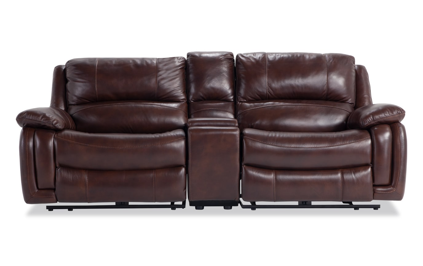 Titan Leather Power Reclining Console Loveseat