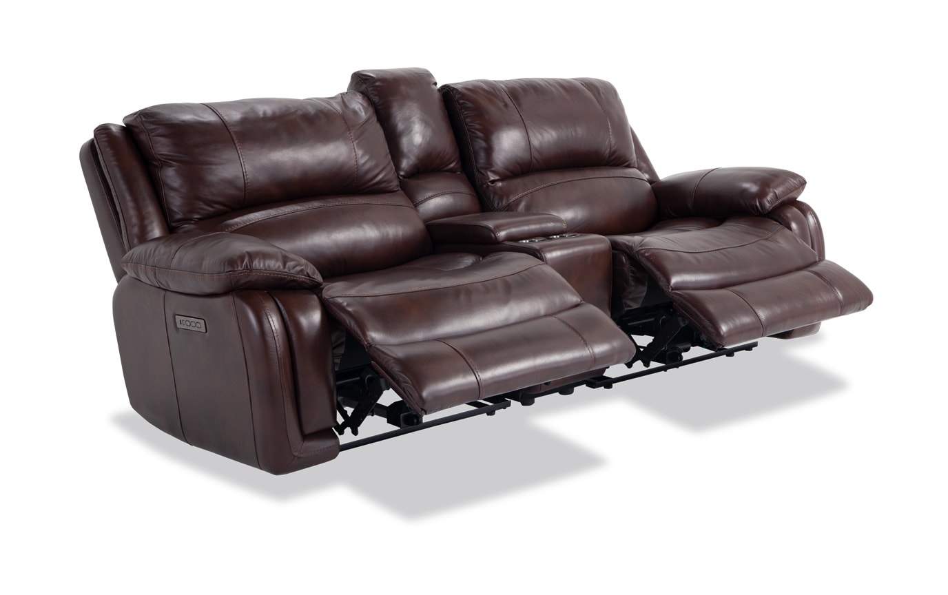 Titan Brown Leather Power Reclining Console Loveseat