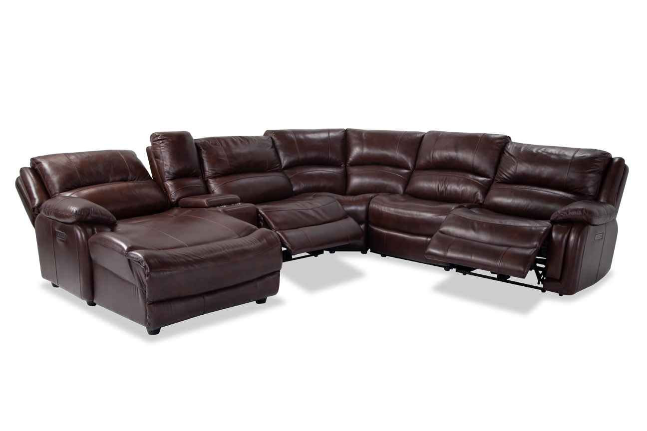 Titan Leather 6 Piece Power Reclining Right Arm Facing Sectional