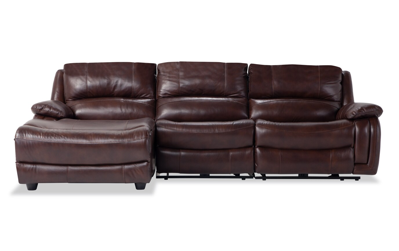 Titan Leather 3 Piece Power Reclining Right Arm Facing Sectional