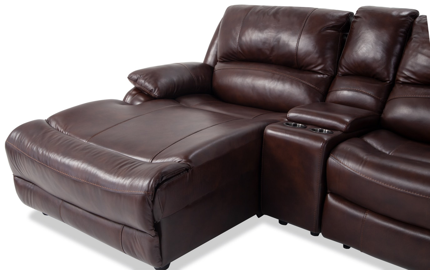 Titan Leather 4 Piece Power Reclining Right Arm Facing Sectional