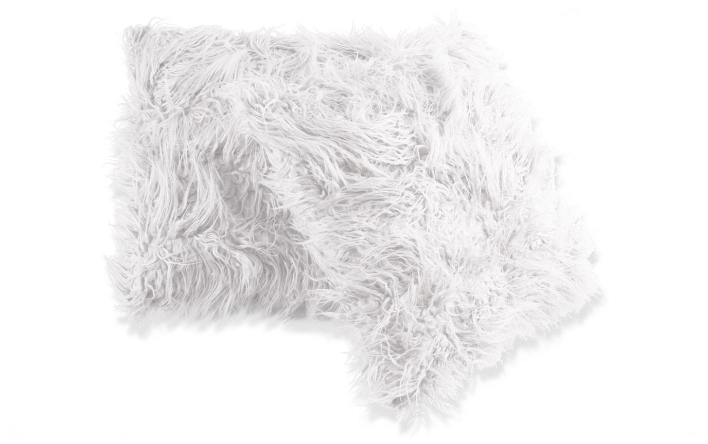 Set of 2 White Faux Fur Pillows