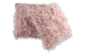 Set of 2 Blush Faux Fur Pillows