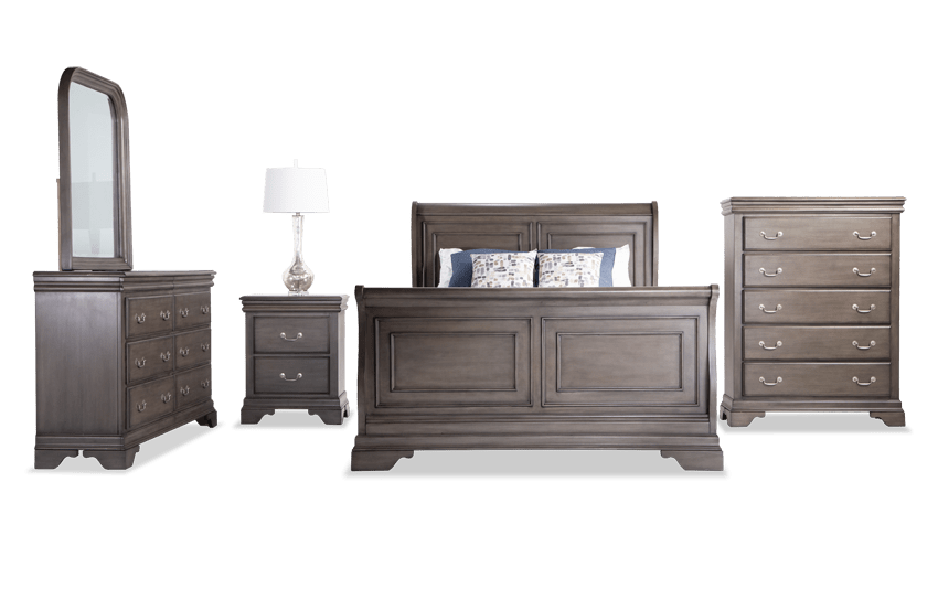 Louie Louie Full Gray Bedroom Set