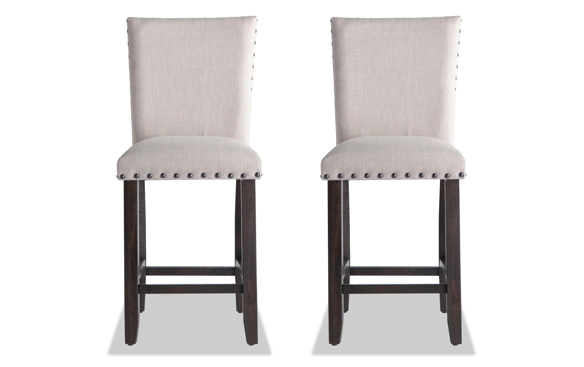 Set Of 2 Sonoma Espresso Upholstered Counter Stools Bobs Com
