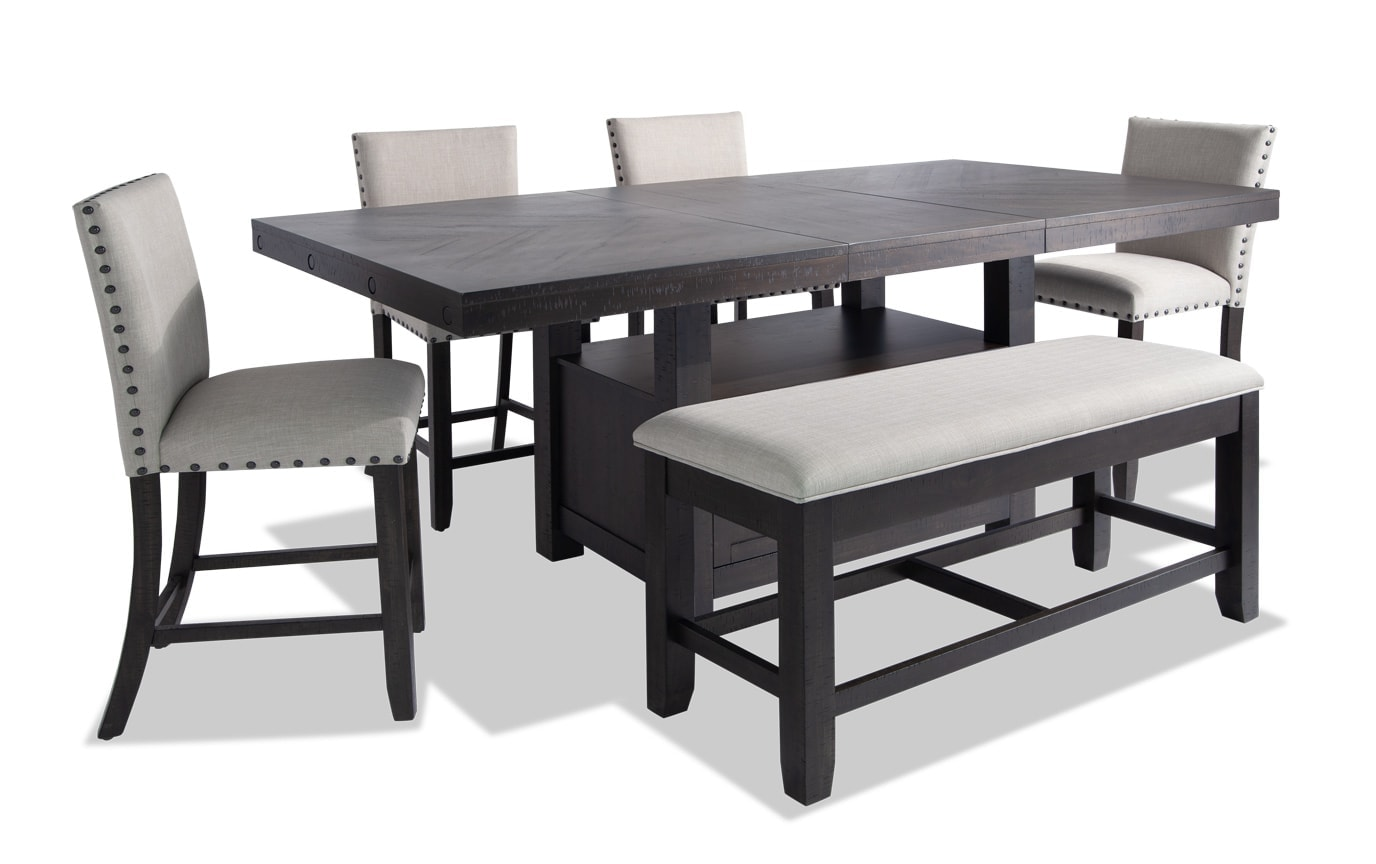 Sonoma 6 Piece Counter Set with Upholstered Stools & Storage Bench