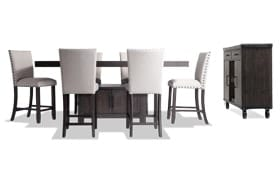 Sonoma 8 Piece Espresso Counter Set with Upholstered Stools & Server