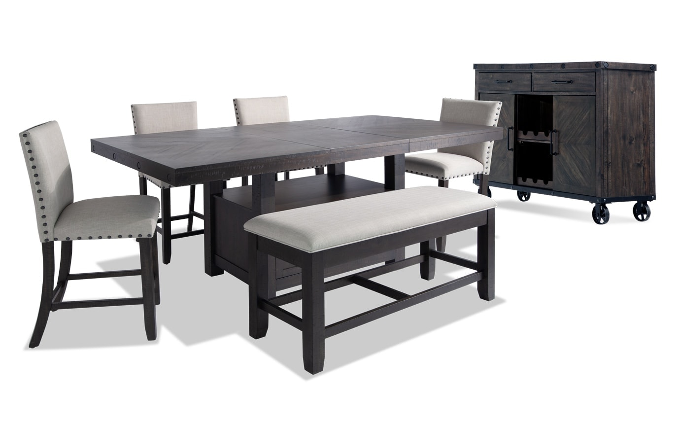 Sonoma 7 Piece Counter Set with Upholstered Stools, Bench & Server