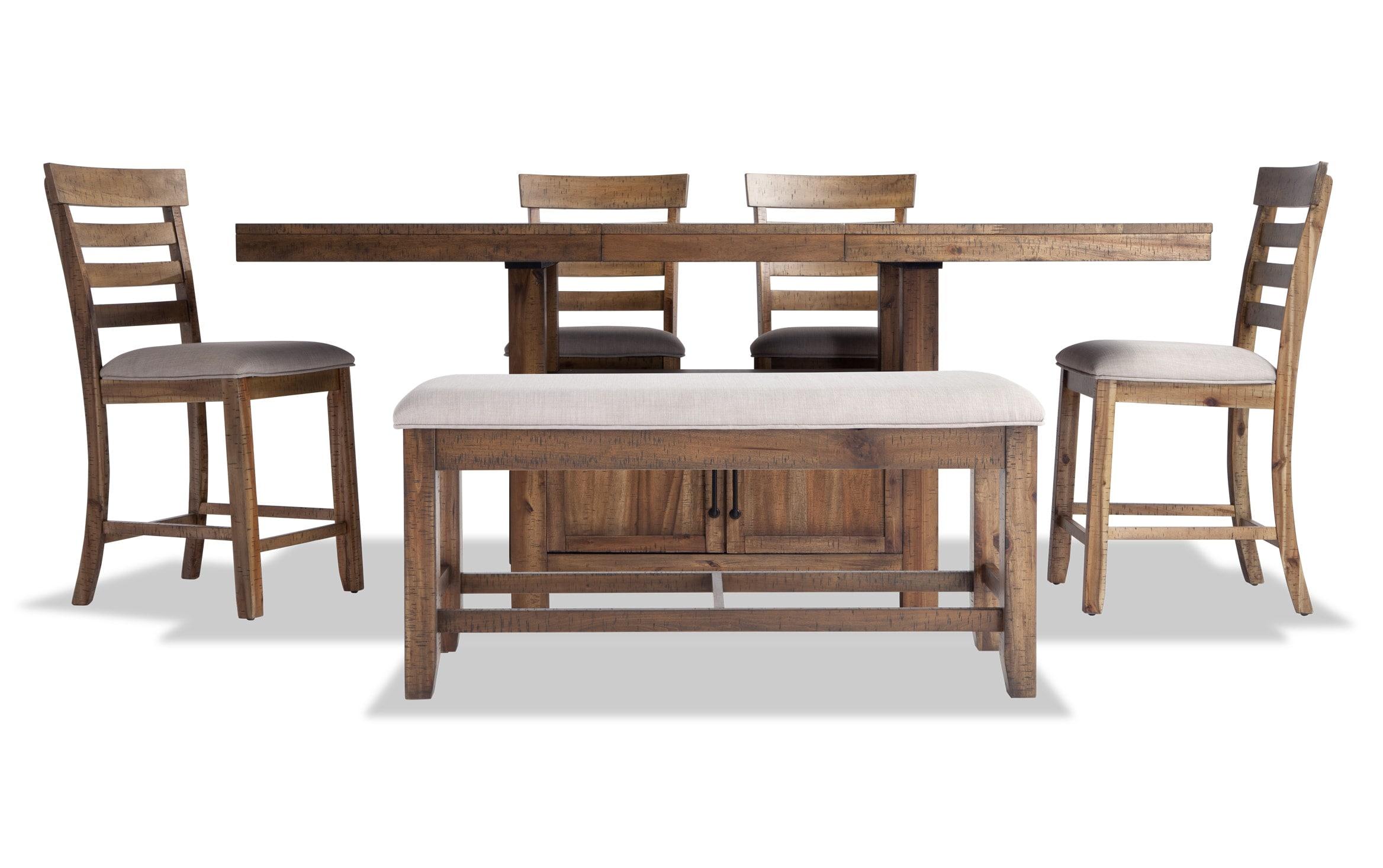 Sonoma 6 Piece Natural Counter Set With Storage Bench Bobs Com