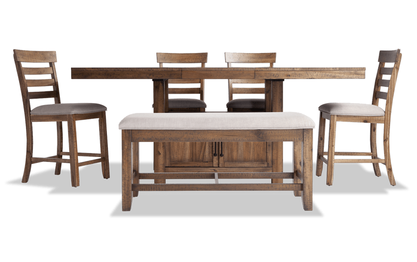 Sonoma Natural 6 Piece Counter Set with Storage Bench