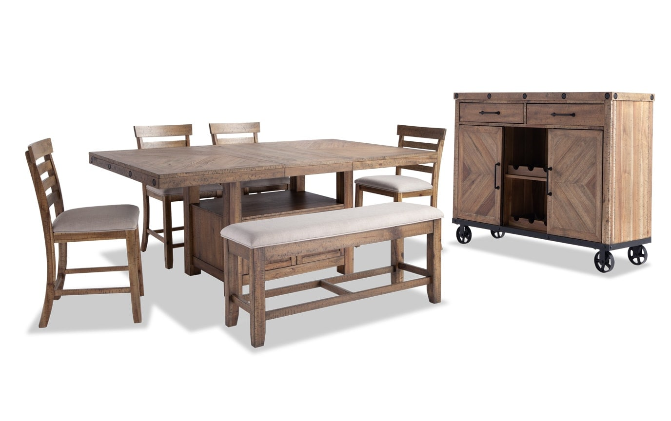 Sonoma 7 Piece Counter Set with Storage Bench & Server