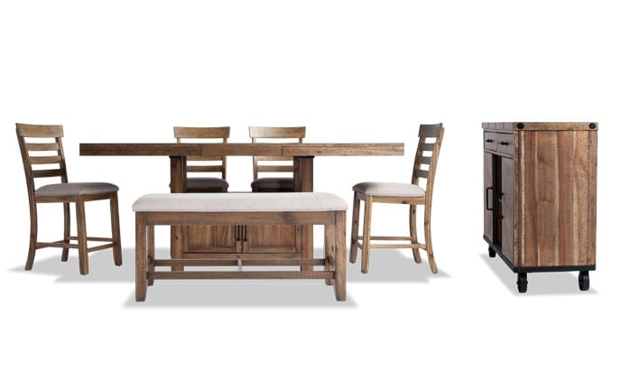 Sonoma Natural 7 Piece Counter Set with Storage Bench & Server