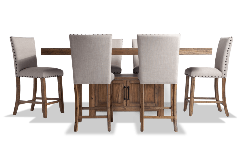 Sonoma Natural 7 Piece Counter Set with Upholstered Stools