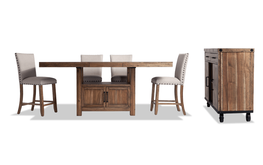 Sonoma 6 Piece Counter Set with Upholstered Stools & Server