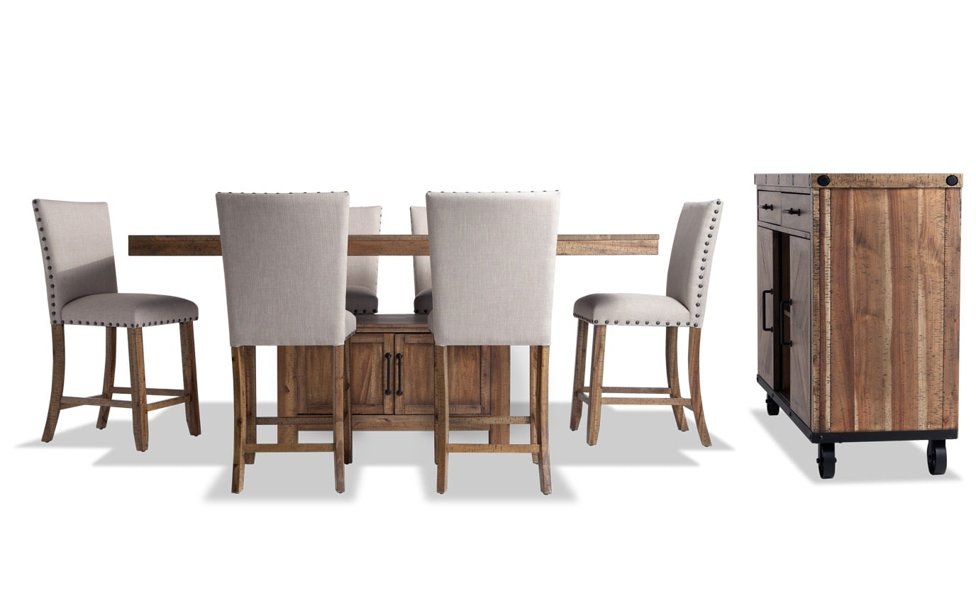 Sonoma 8 Piece Counter Set with Upholstered Stools & Server